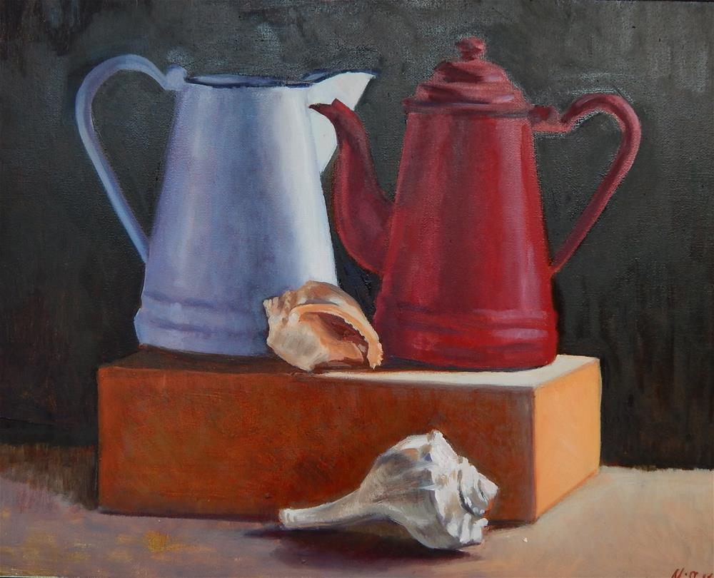"""Two Pots and Two Shells"" original fine art by Megan Schembre"