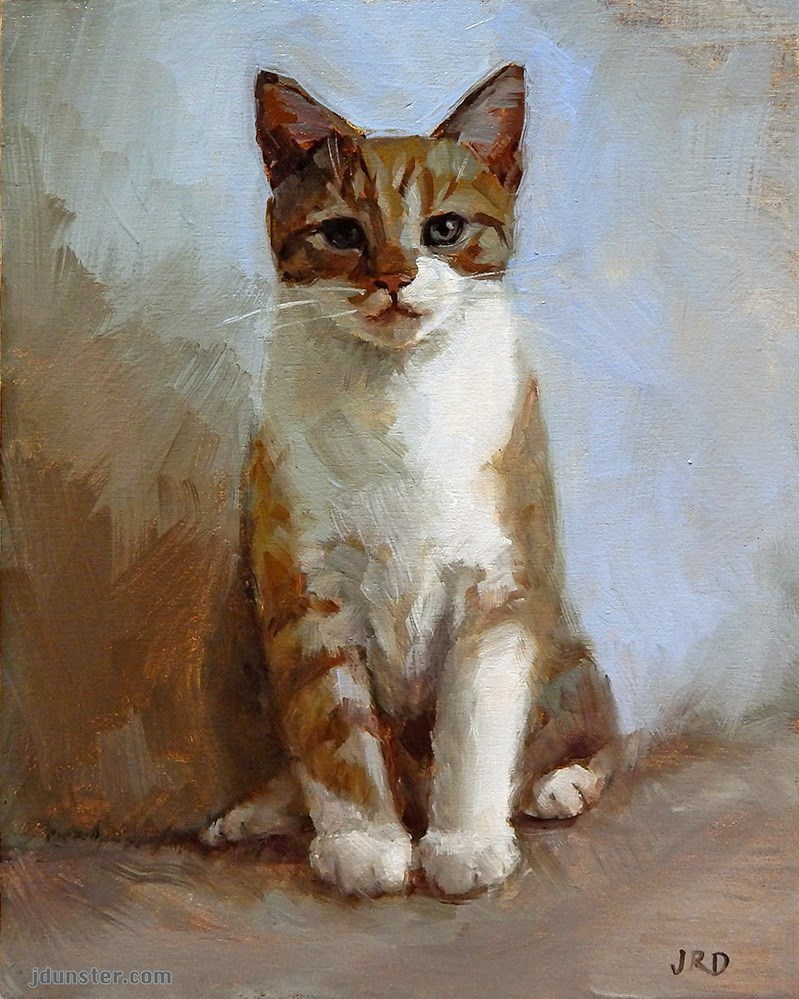 """Seated Kitten"" original fine art by J. Dunster"