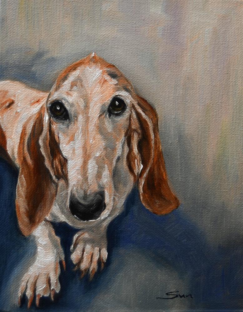 """Basset Hound, custom dog Painting, pet painting, pet portrait"" original fine art by Sun Sohovich"