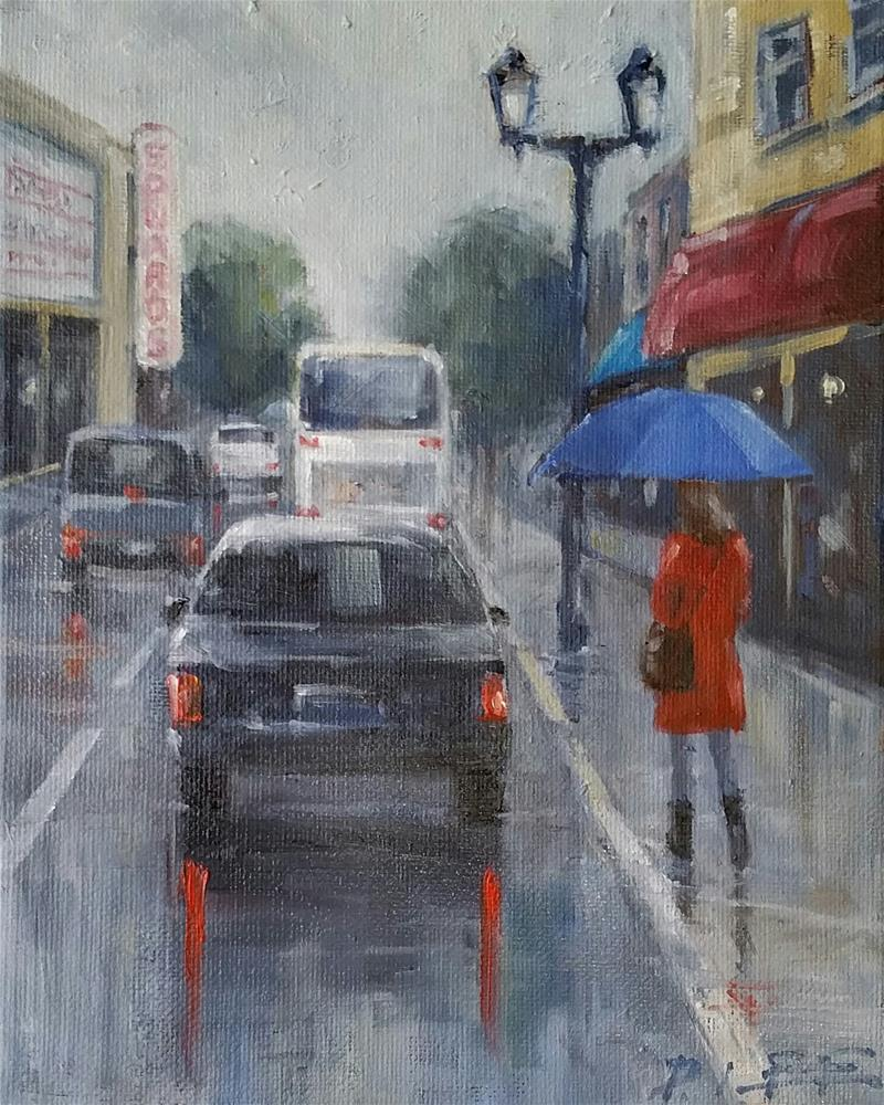"""Blue Umbrella"" original fine art by Peter Lee"
