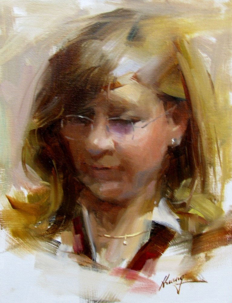 """Kristen"" original fine art by Qiang Huang"