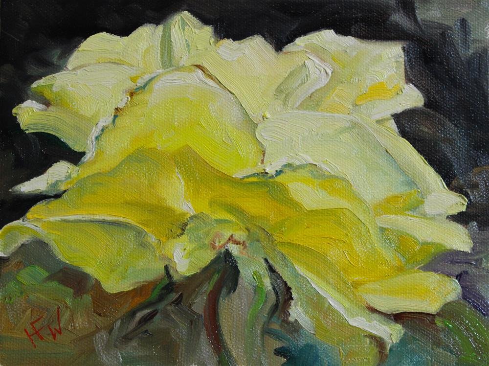 """Yellow Rose"" original fine art by H.F. Wallen"