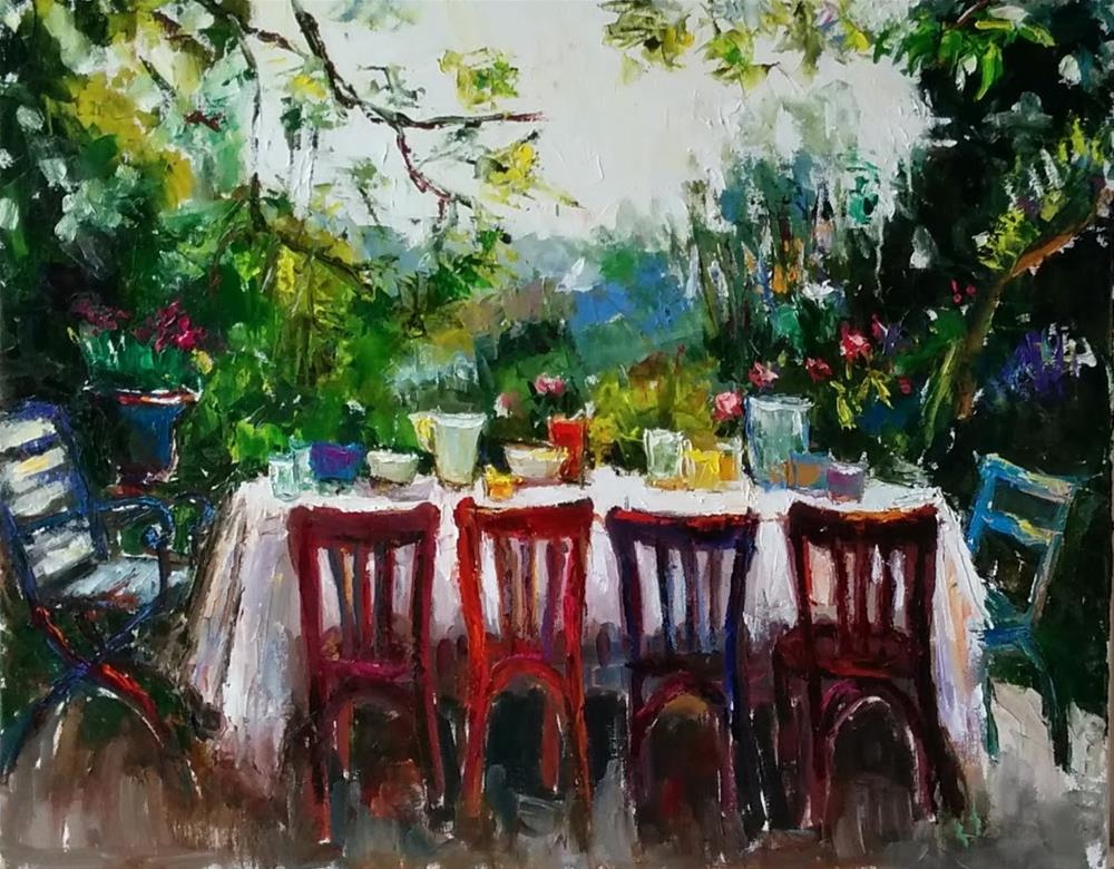 """Alfresco Breakfast"" original fine art by pepa sand"