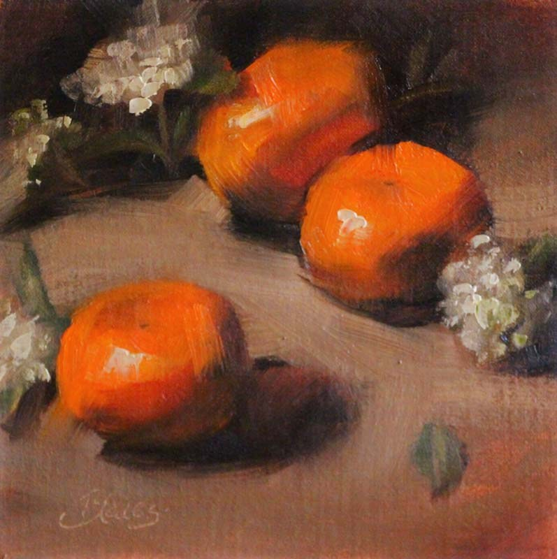 """Mandarins and Firethorn Blooms"" original fine art by Pamela Blaies"