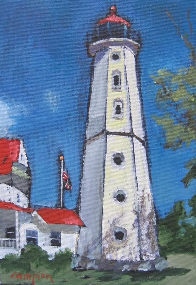 """119 North Point Lighthouse and Keepers' Quarters"" original fine art by Diane Campion"