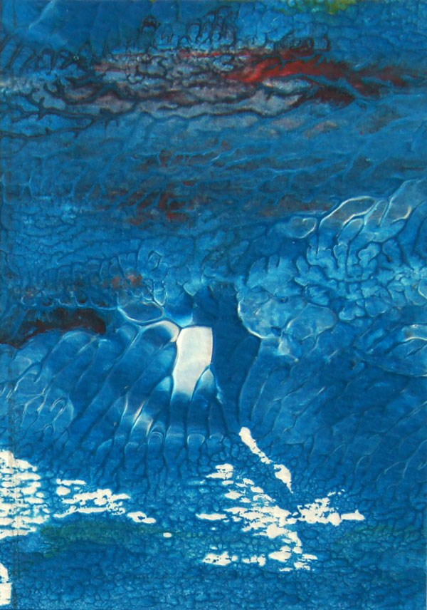 """Storm 2, acrylic monoprint ACEO painting"" original fine art by Marion Hedger"