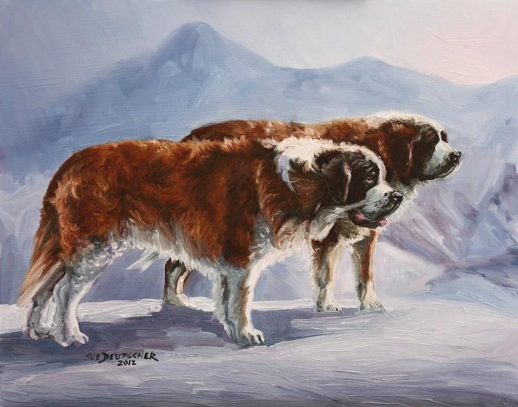 """""""Saint Bernards"""" original fine art by Sue Deutscher"""