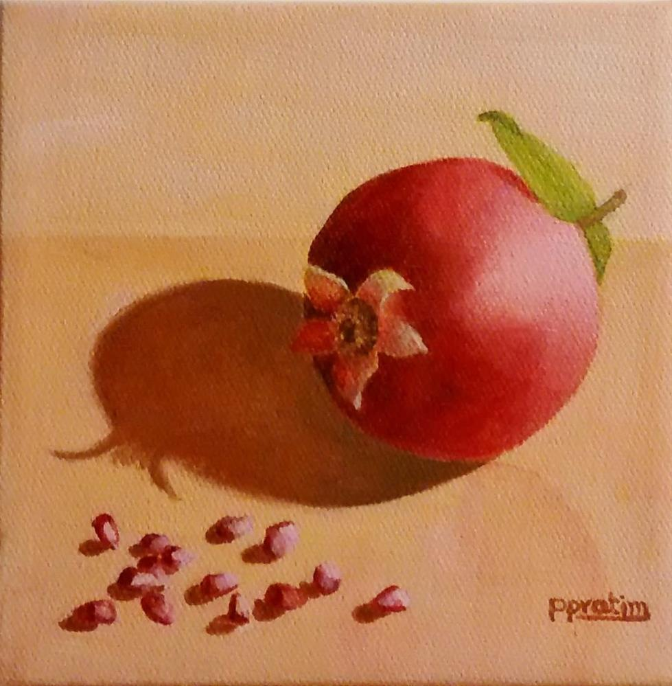 """A pomegranate"" original fine art by Pratima Patel"