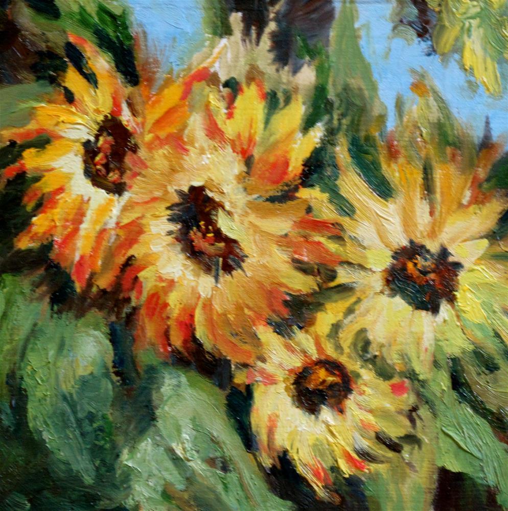 """""""Sunflowers in oil"""" original fine art by Diane Fujimoto"""