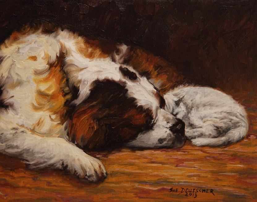 """""""Saint Bernard and Cat"""" original fine art by Sue Deutscher"""