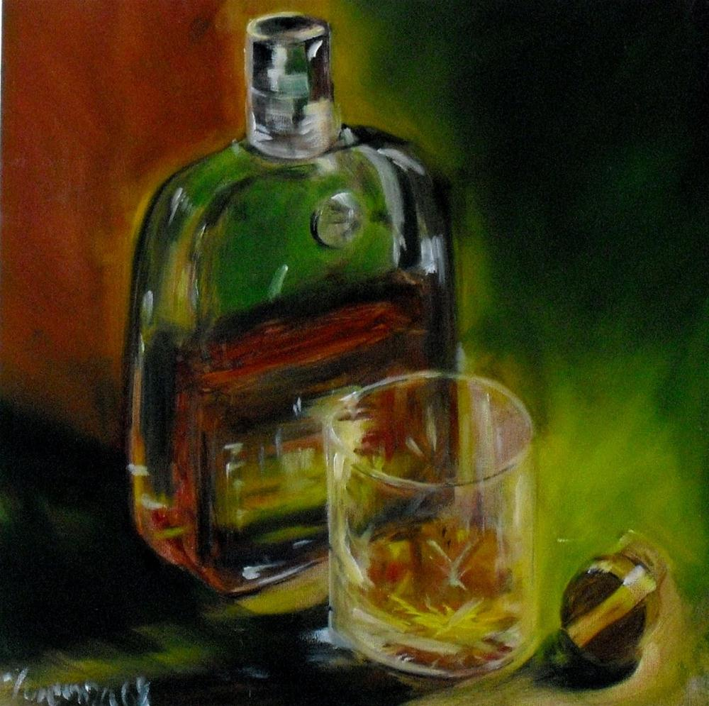 """One Bourbon ~ 12x12 ~oil on panel"" original fine art by Vincenza Harrity"