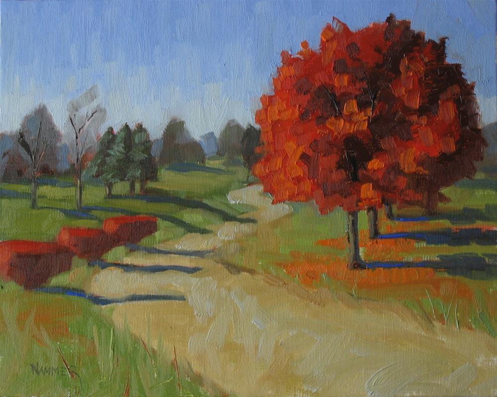"""Three red bushes 8x10 oil"" original fine art by Claudia Hammer"