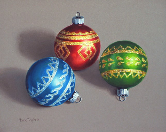 """Three Christmas Ornaments"" original fine art by Nance Danforth"