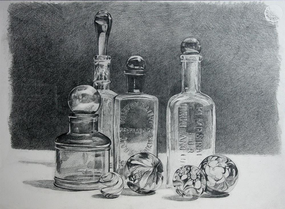 """""""Bottles """" original fine art by Setsuko Lawson"""