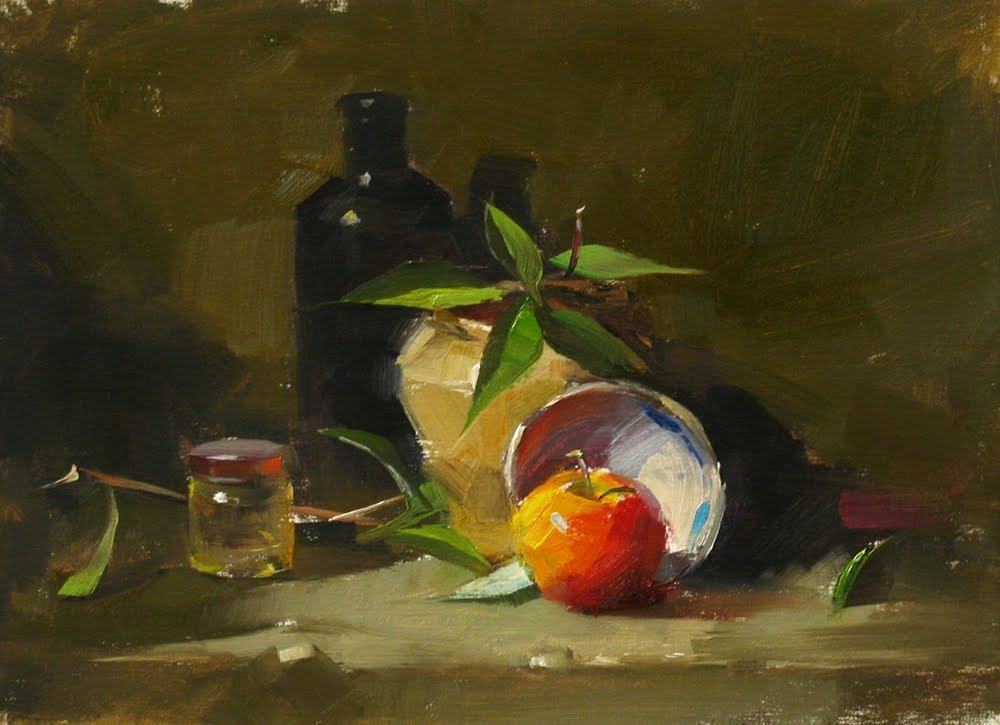 """""Newton's Apple --- Sold"" original fine art by Qiang Huang"