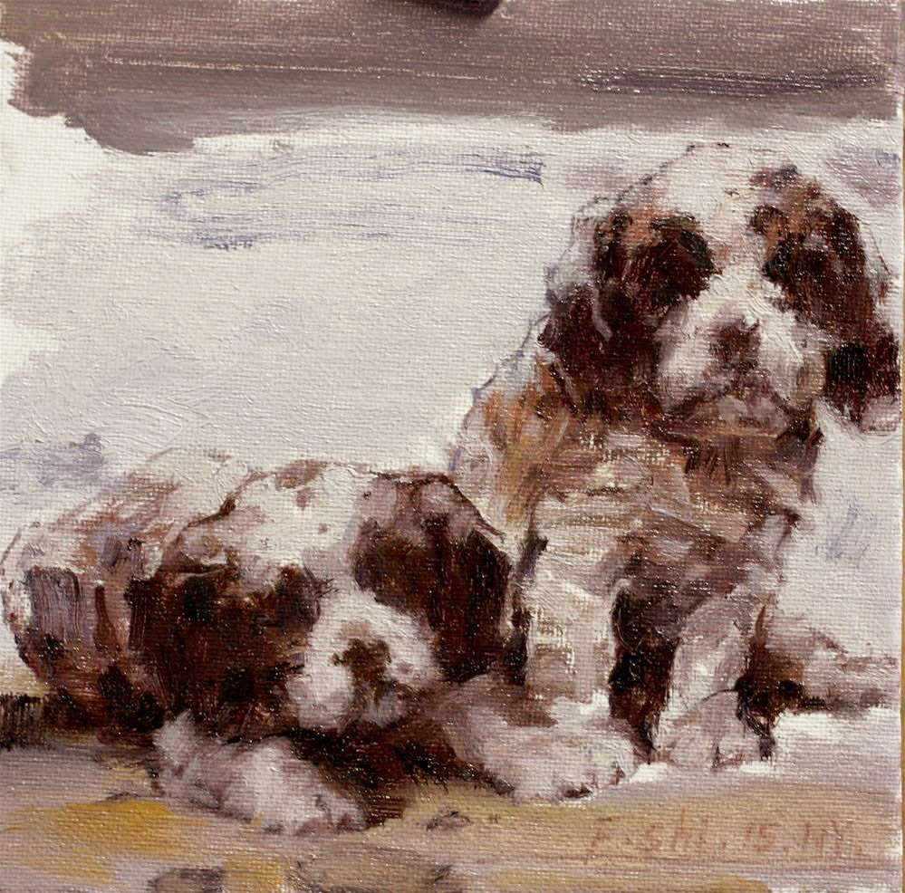 """puppy"" original fine art by fengshi jin"
