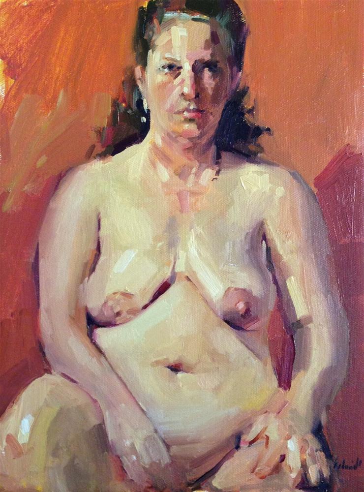 """Orange Nude female figure figurative oil painting from a live model"" original fine art by Sarah Sedwick"
