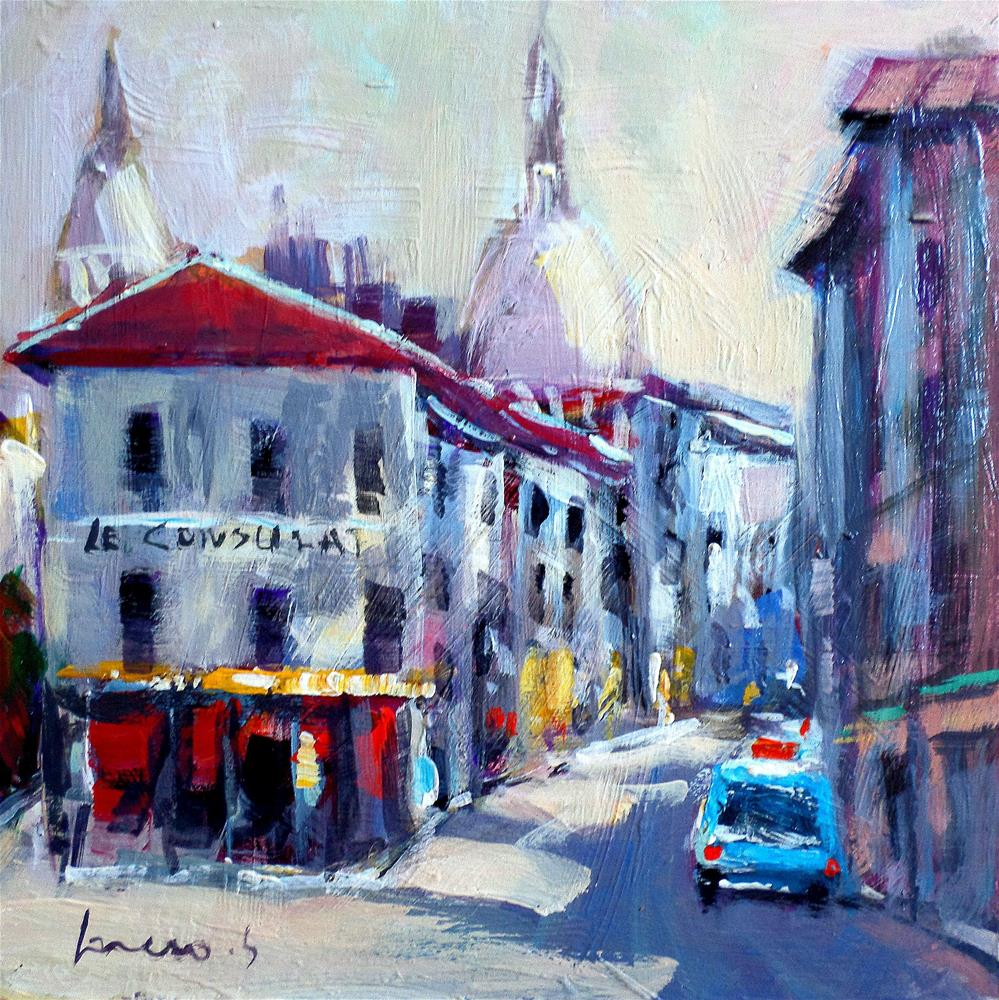 """the old Montmartre paris"" original fine art by salvatore greco"