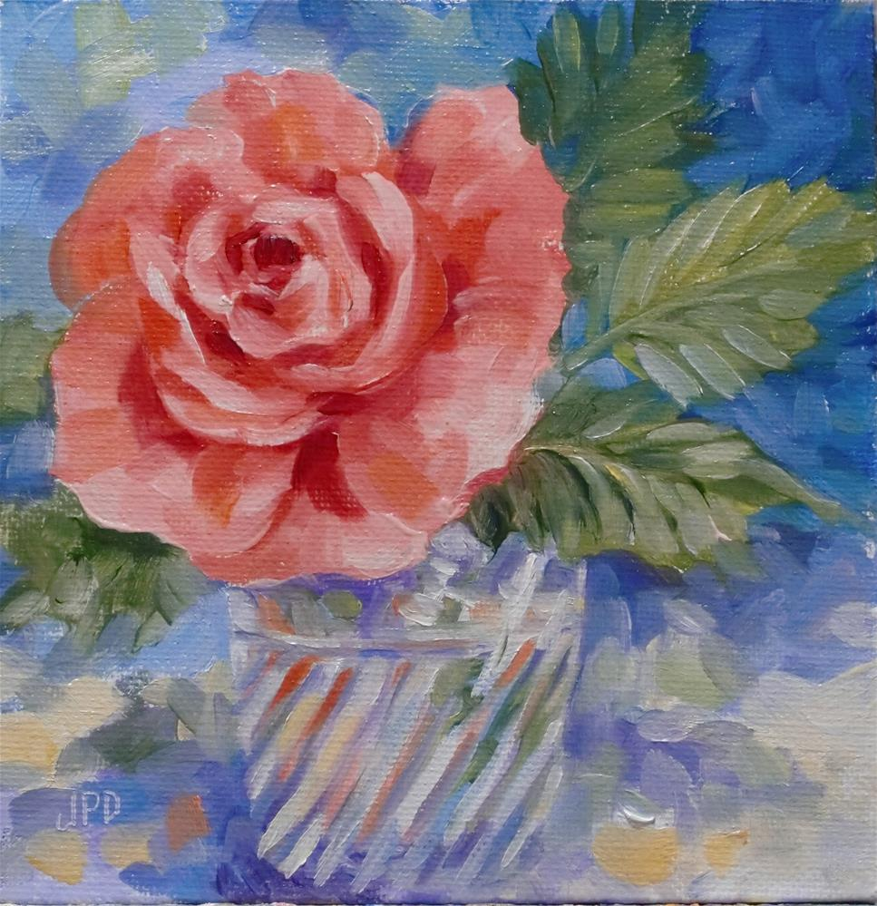 """Pink rose in water glass"" original fine art by Jean Pierre DeBernay"