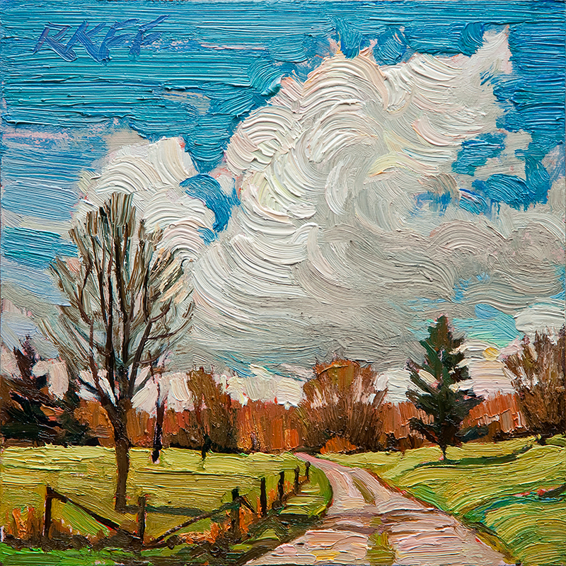 """Country Drive: 6x6 oil on panel"" original fine art by Ken Faulks"