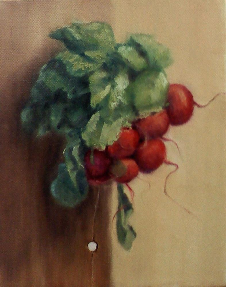 """Radishes on a board"" original fine art by Judith Anderson"