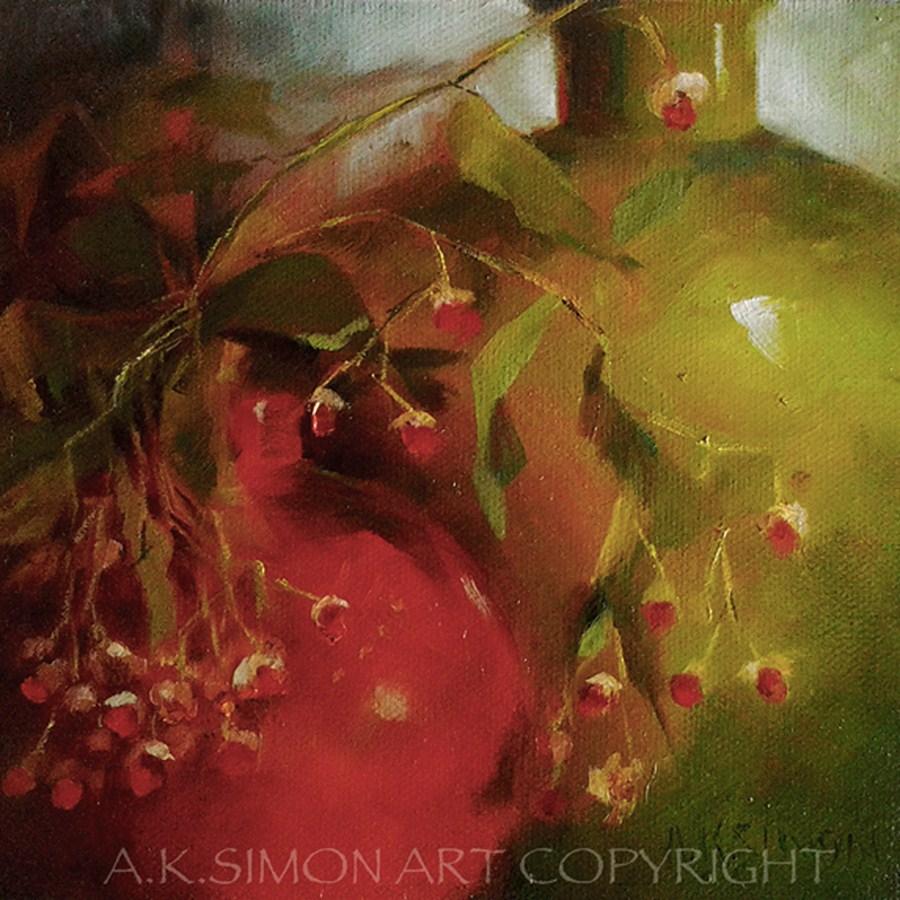 """1 Euonymous, 2 Euonymous, 3 Euonymous, 4"" original fine art by A.K. Simon"