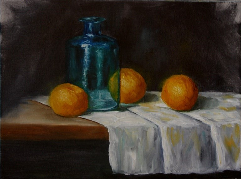"""Blue Bottle and Cuties"" original fine art by Mary Datum"