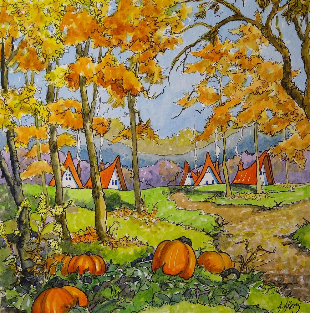 """""""An Autumn Dream Storybook Cottage Series"""" original fine art by Alida Akers"""
