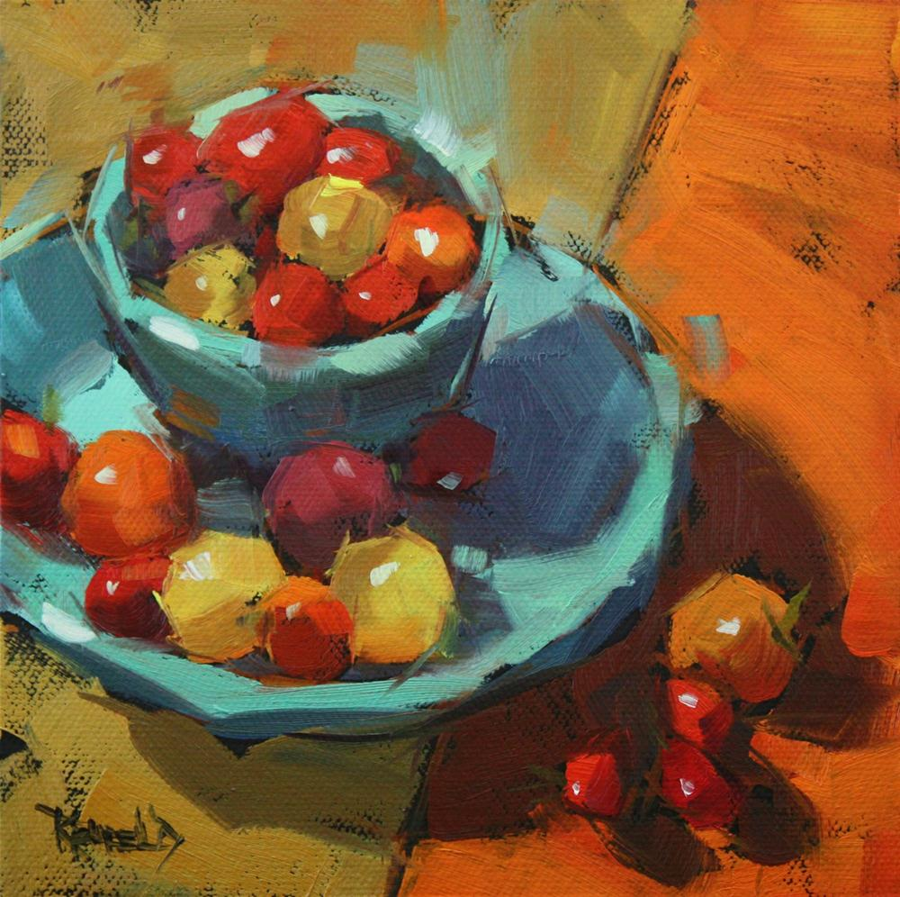 """Rainbow of Tomatoes"" original fine art by Cathleen Rehfeld"