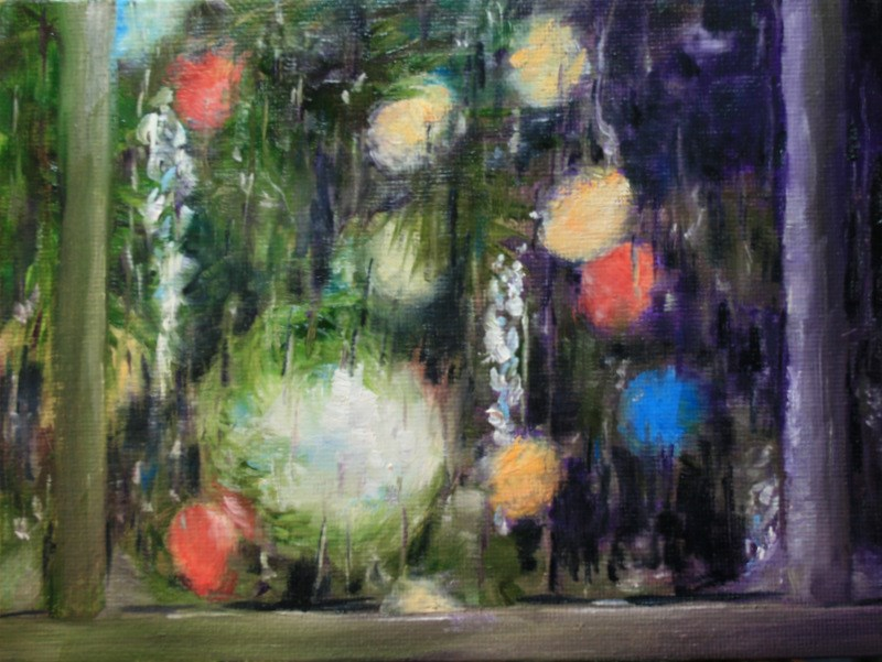 """Rain at Christmas Time"" original fine art by Jean Nelson"
