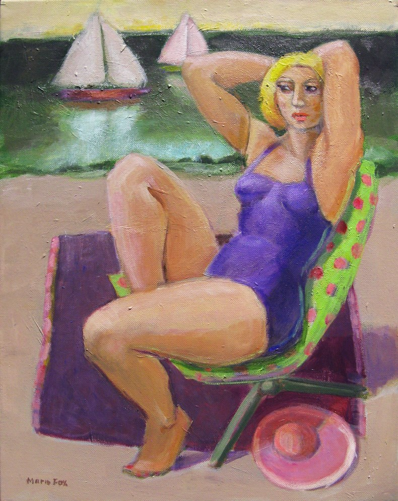 """The Purple Hat, figurative painting of woman by beach and ocean, sailboat"" original fine art by Marie Fox"