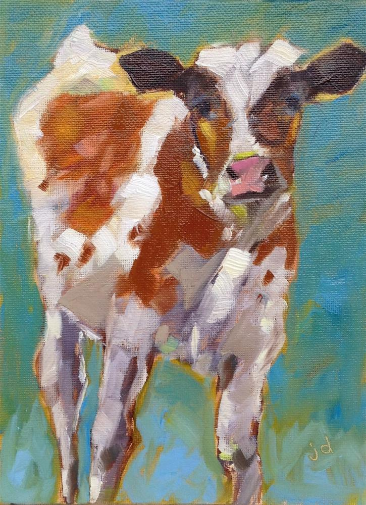 """Cow 23...Ducky"" original fine art by Jean Delaney"