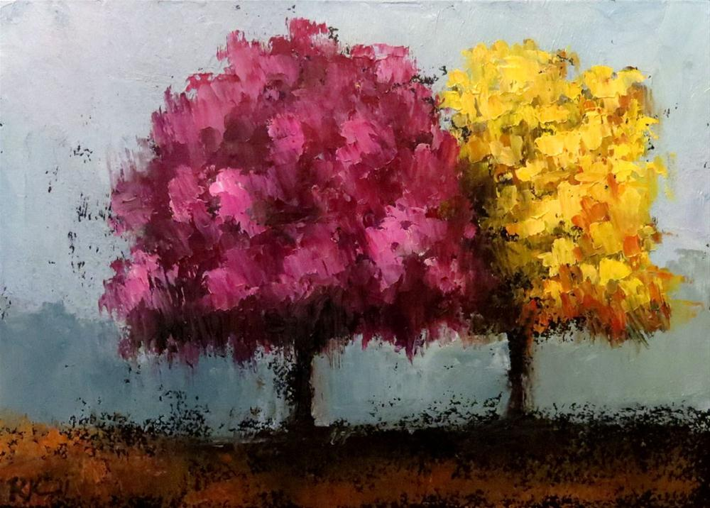 """A Complimentary Pair of Trees"" original fine art by Bob Kimball"