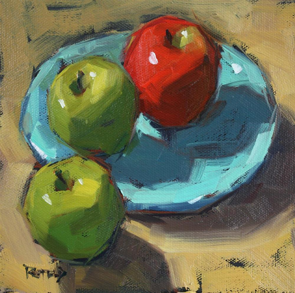 """Two Green One Red"" original fine art by Cathleen Rehfeld"