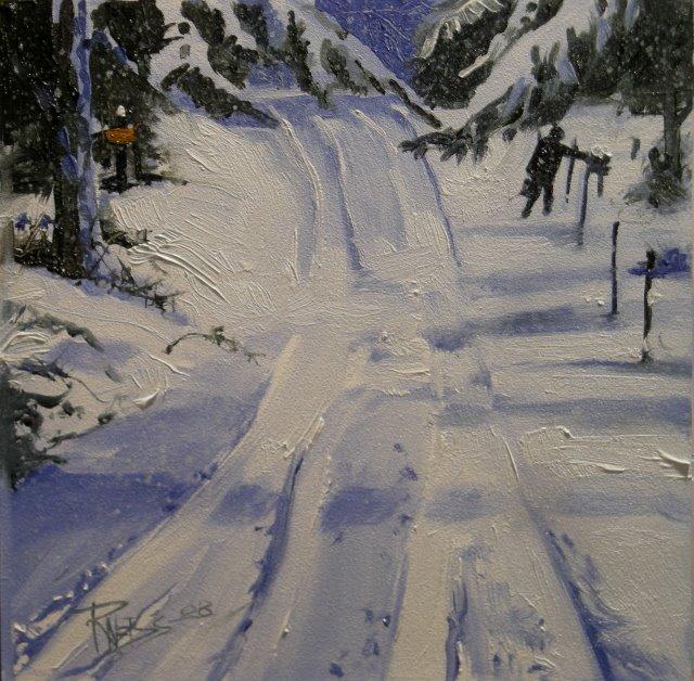 """Through Rain, Sleet, or Snow!   snow landscape, oil painting"" original fine art by Robin Weiss"