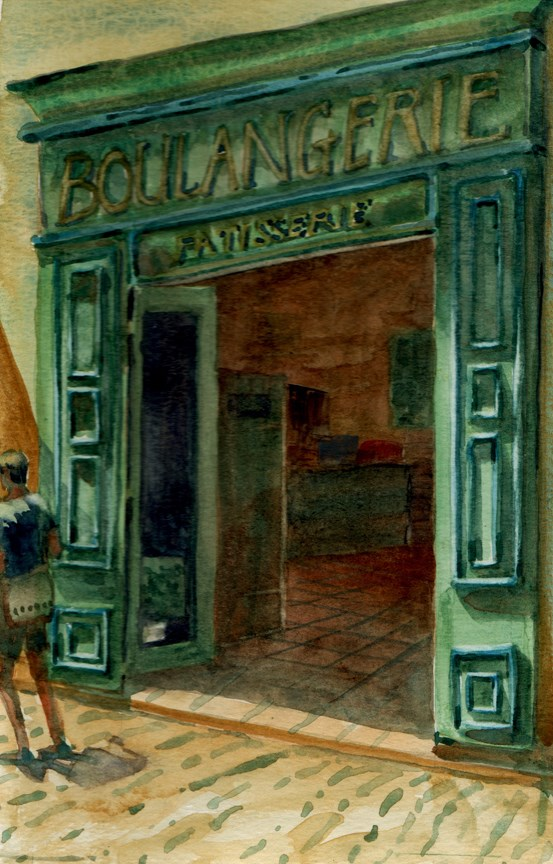 """Watercolor sketch: Boulangerie (& praise for art workshops)"" original fine art by Belinda Del Pesco"