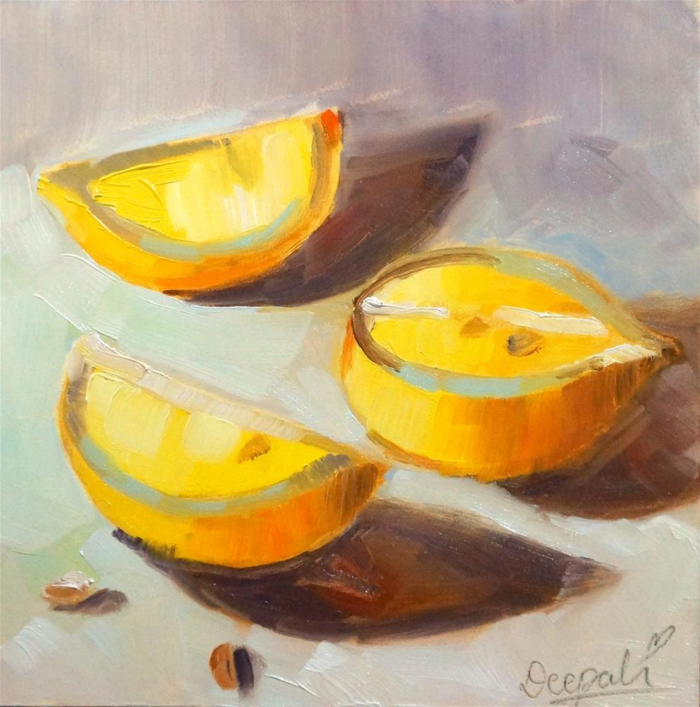 """Lemon slices"" original fine art by Dipali Rabadiya"