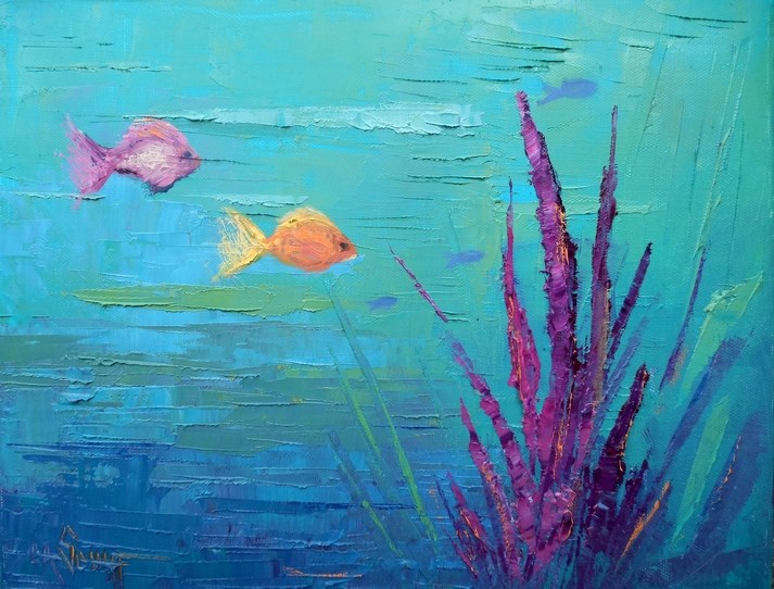 """Seascape Oil Painting, Small Oil Painting, Daily Painting, 11x14 Ocean Painting  Underwater Garden"" original fine art by Carol Schiff"
