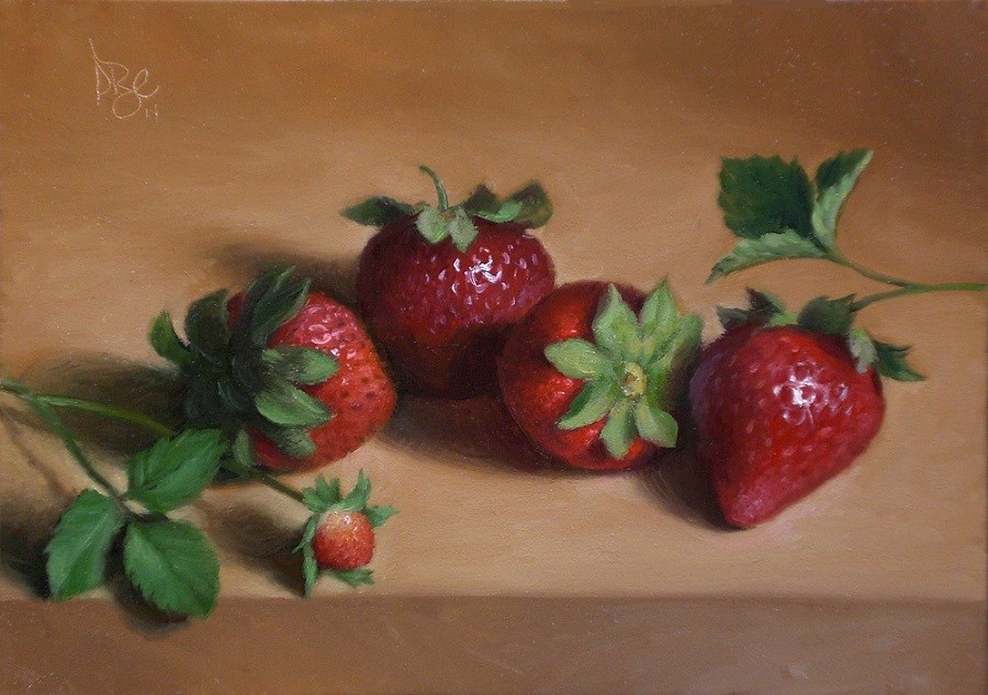 """Strawberries in June"" original fine art by Debra Becks Cooper"