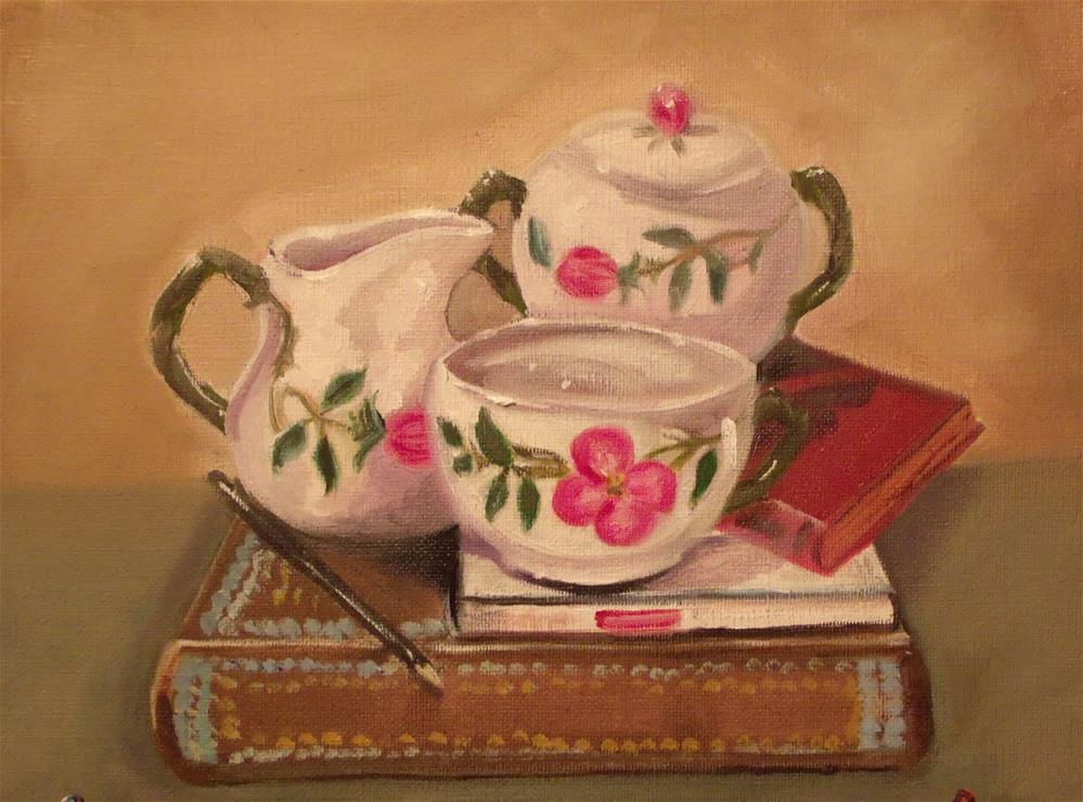 """Momma's dishes"" original fine art by Janet Fulk"