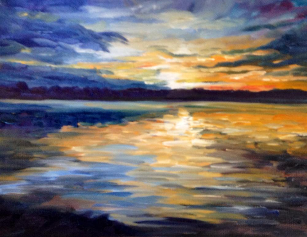 """MISSISSIPPI SUNSET # 4 9X12 acrylic on board"" original fine art by Rita Corrigan"