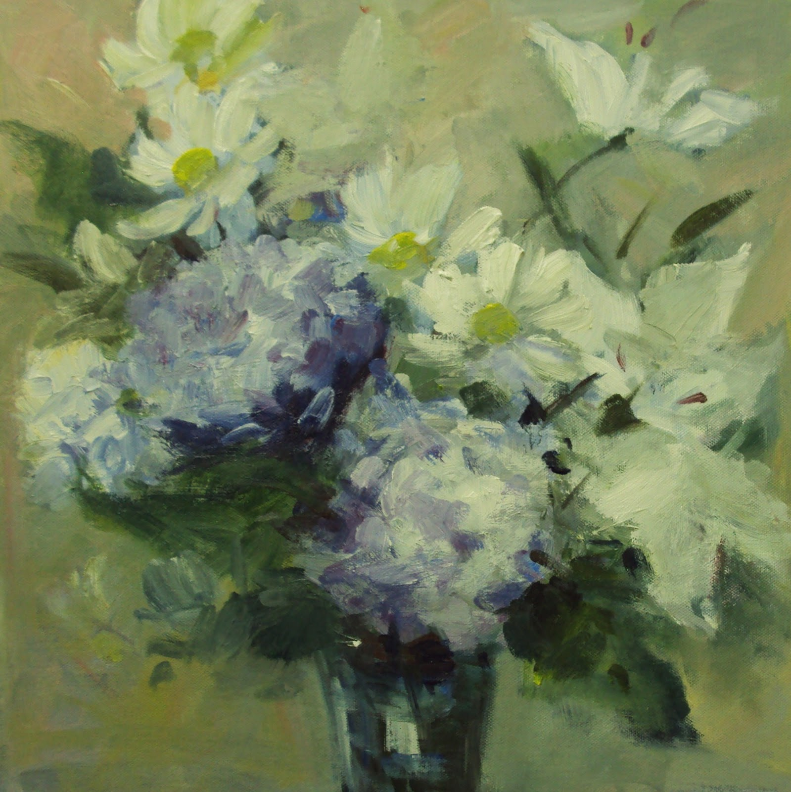 """white flowers study"" original fine art by Parastoo Ganjei"
