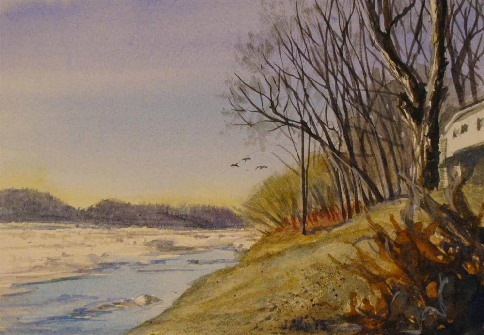 """Ice on the Susquehanna"" original fine art by Jane Albin"
