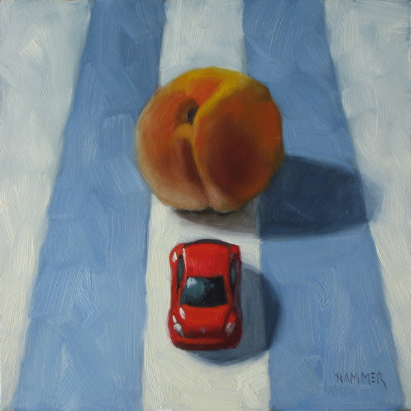 """Oh No, The Fuzz!  6x6 oil on panel"" original fine art by Claudia Hammer"