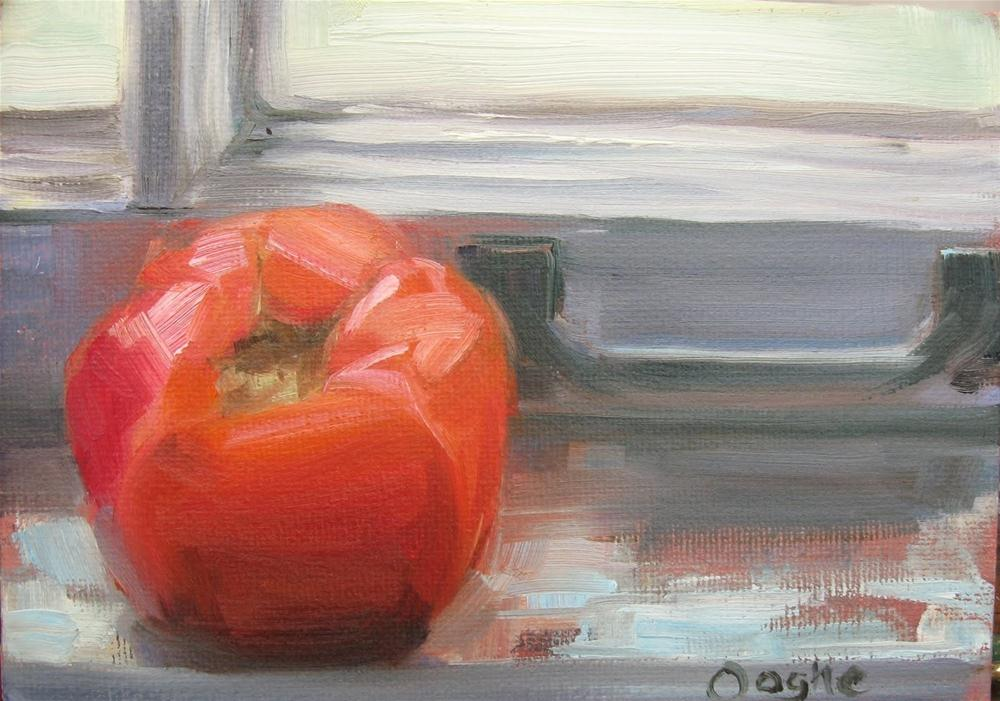 """Tomato on Window Sill"" original fine art by Angela Ooghe"