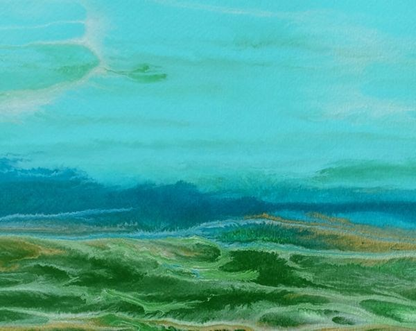 """Contemporary Seascape,Coastal Abstract Art Dreaming in Green-Study #6 by International Contemporar"" original fine art by Kimberly Conrad"