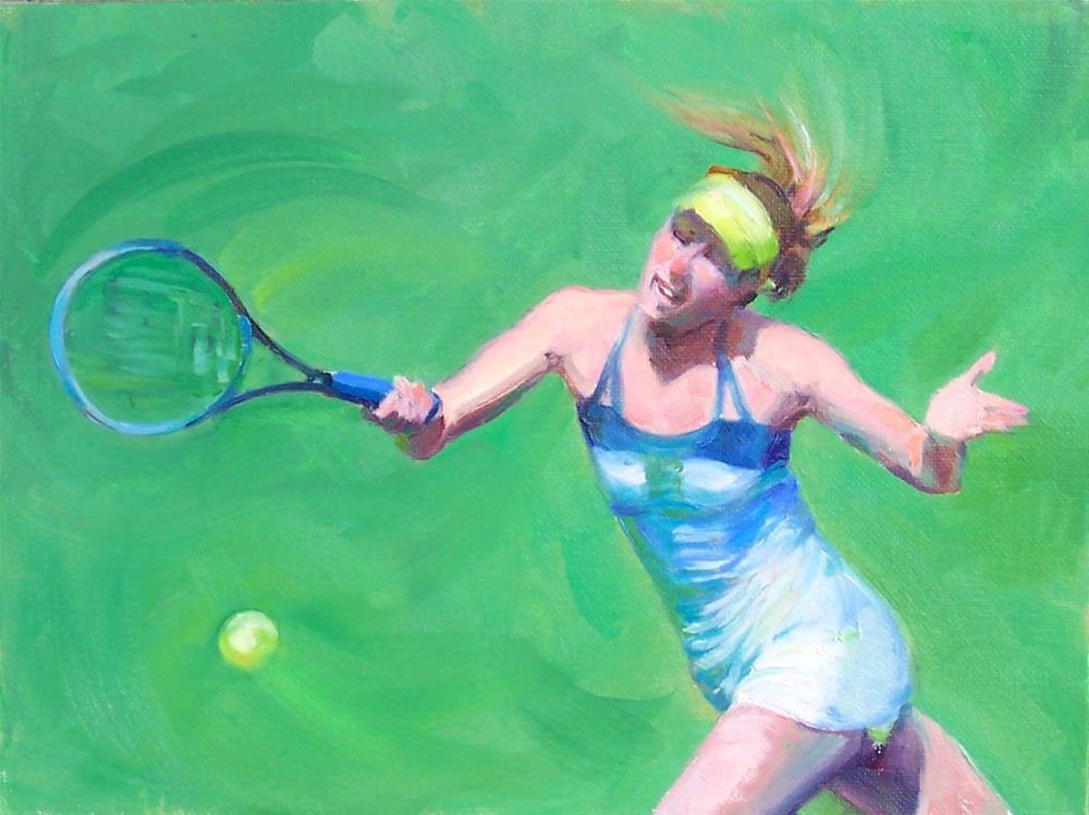 """Sharopova,Tennis Anyone,figure,oil on canvas,9x12,price$700"" original fine art by Joy Olney"