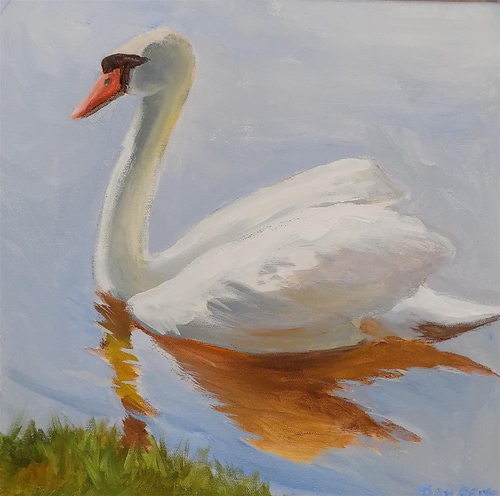 """""""Swan on the Avon"""" original fine art by Joan Reive"""