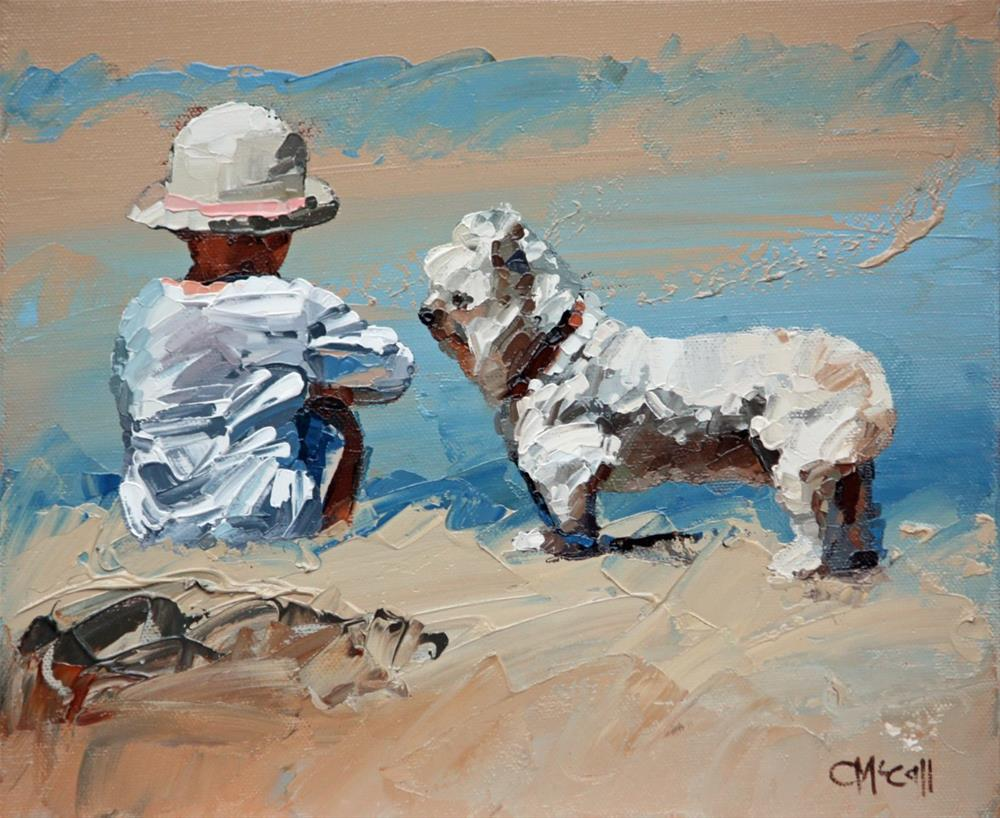 """The Girl And Her Loyal Pup"" original fine art by Claire McCall"