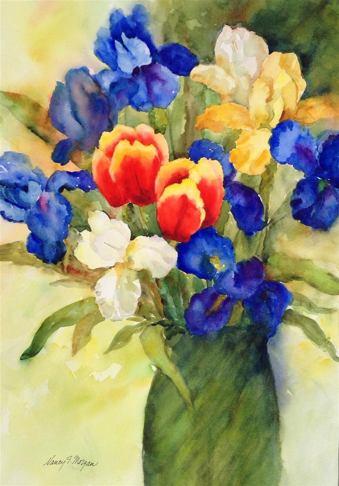 """Iris and Tulips"" original fine art by Nancy F. Morgan"